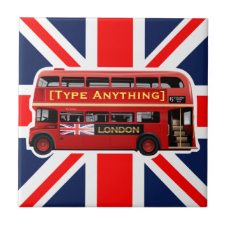 Red London Bus Themed Small Square Tile