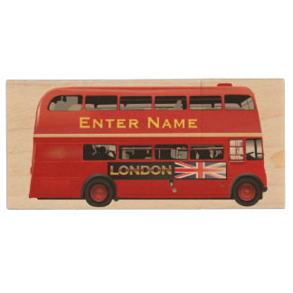 Red London Bus Themed Wood USB Flash Drive
