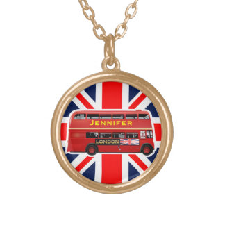 Red London Double Decker Bus Gold Plated Necklace