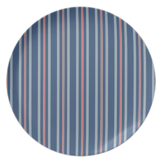 red lone stripe melamine  plate