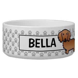 Red Long Coat Dachshund Cartoon Dog Dog Food Bowl