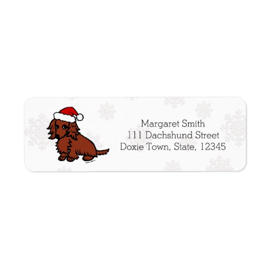 Red Long Haired Dachshund Christmas Cute Return Address Label