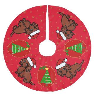 Red Long Haired Dachshund Christmas Tree Skirt