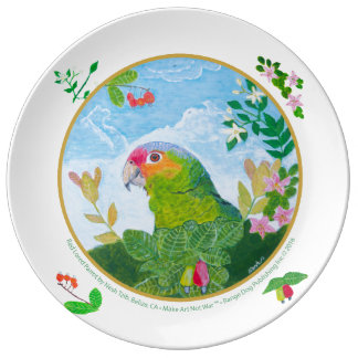 Red-Lored Amazon Parrot Decorative Plate Porcelain Plate