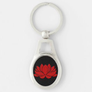 Red Lotus Blossom Silver-Colored Oval Key Ring