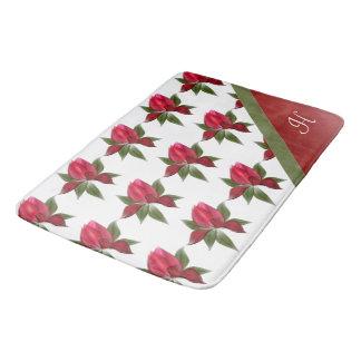 Red Lotus Flowers Green Ribbon Monogram Bath Mat