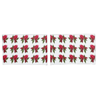 Red Lotus Flowers Pillowcase