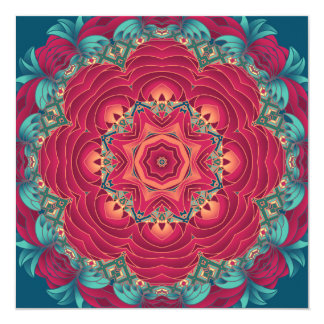 Red Lotus Mandala Card