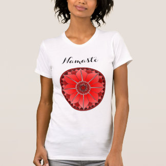 Red Lotus Mandala Namaste Typography Yoga Custom T-Shirt