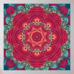 Red Lotus Mandala Poster
