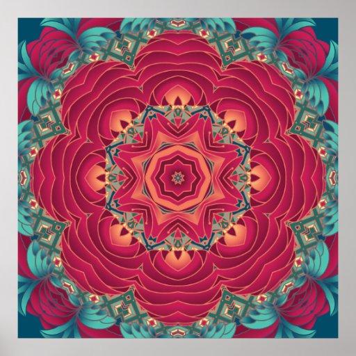 Red Lotus Mandala Posters