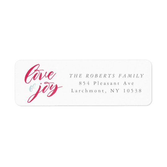 Red Love and Joy Return Address Labels
