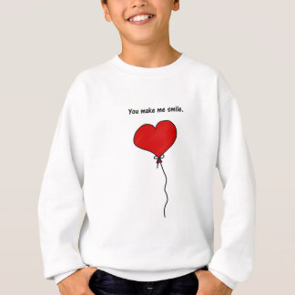 Red Love Heart Balloon You Make Me Smile Sweatshirt