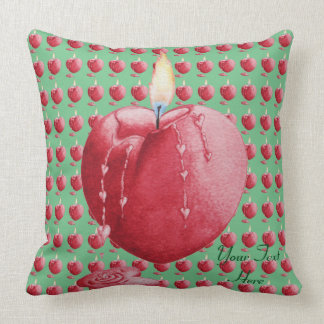 Red love heart candle illustration art cushion
