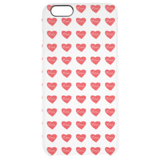 Red Love Heart Clear iPhone 6 Plus Case