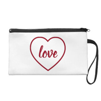 Red Love Heart on White Personalized Wristlet