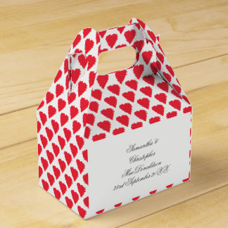 Red love heart pattern party favour box
