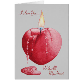 Red love heart shaped romantic burning candle art greeting card