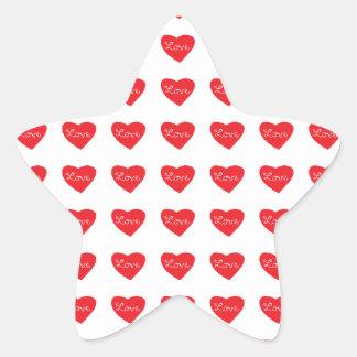 Red Love Heart Star Sticker