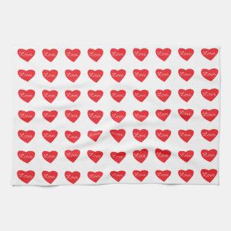 Red Love Heart Kitchen Towel