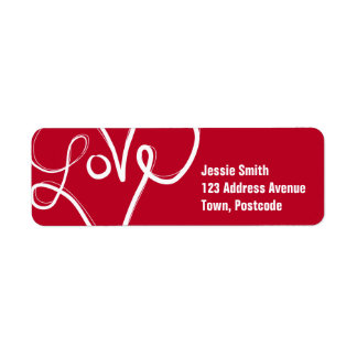 Red Love Heart Typography Return Address Label