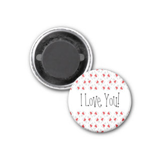 Red Love Hearts and Swirls I Love You Magnet