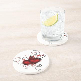 red love hearts swirl art drink coaster