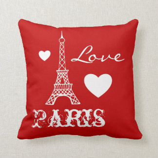Red Love Paris Eiffel Tower Bedroom Pillow