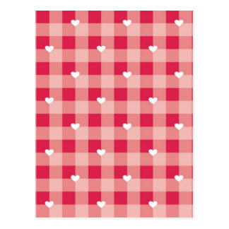 Red love pattern with hearts postcard