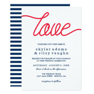 Red Love Preppy Blue Wedding Card
