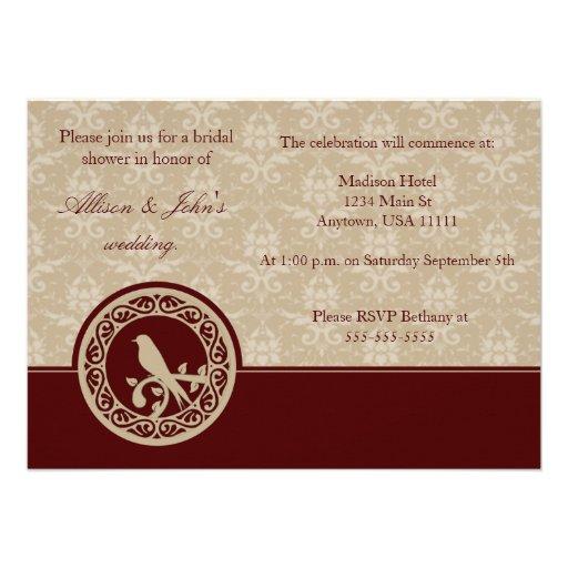 Red Lovebird Damask Bridal Shower Invitation