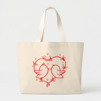 Red Lovebirds & Hearts Wedding Love Large Tote Bag