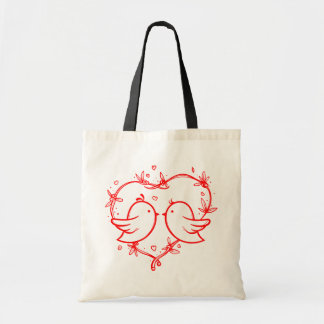 Red Lovebirds & Hearts Wedding Love Tote Bag
