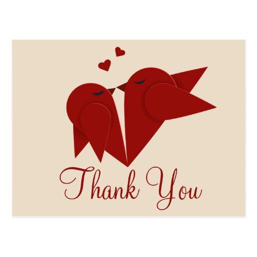 Red Lovebirds Thank You Greeting Postcard