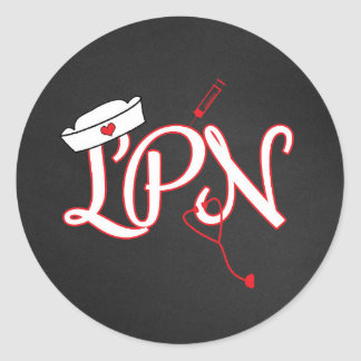 Red LPN nurse favor sticker / envelope seal