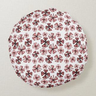 Red Lucky Shamrock Clover Round Cushion