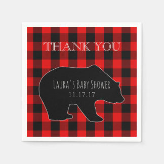 Red Lumberjack Plaid | Woodland Boy Baby Shower Disposable Napkin