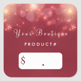 Red Luxe Bokeh Sparkle Elegant Boutique Price Tags Square Sticker
