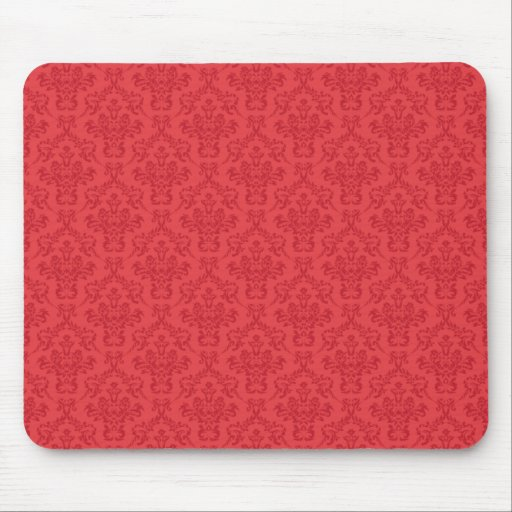 Red luxury damask pattern mousemat,  mousepad