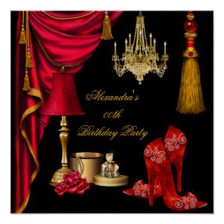 Red Luxury Womans Gold Black Poster