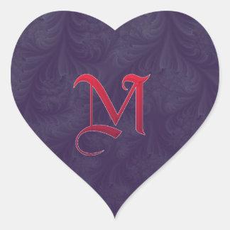 Red 'M' on purple embossed effect 3D fractal. Heart Sticker