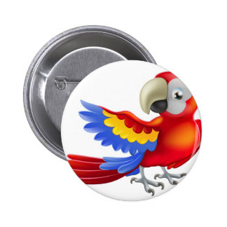 Red macaw parrot illustration pinback button