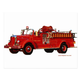 Red_Mack_Fire_truck_Texturized Postcard