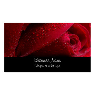 Red Macro Rose with Water Droplets Pack Of Standard Business Cards
