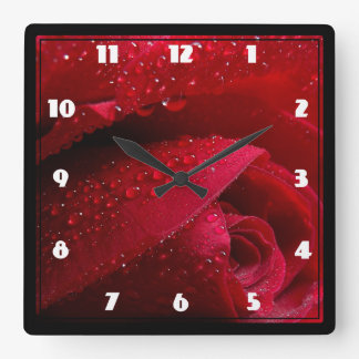 Red Macro Rose with Water Droplets Square Wall Clock