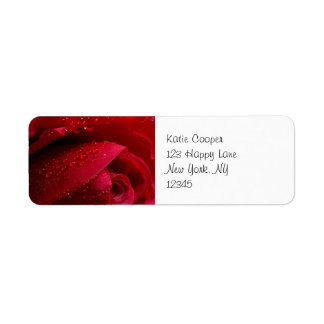 Red Macro Rose with Water Droplets Return Address Label