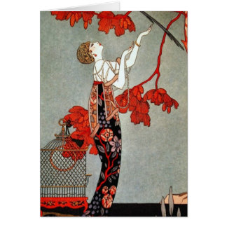 Red Madame Art Deco Design Greeting Card
