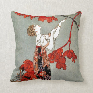 Red Madame Art Deco Design Throw Pillow
