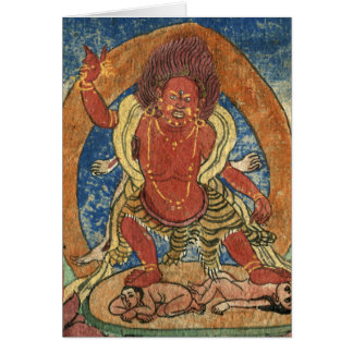 Red Mahakala, C16th Tibetan Card