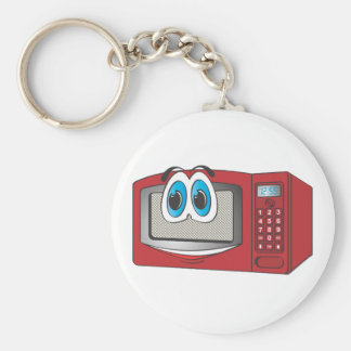 Red Male Microwave Cartoon Basic Round Button Key Ring